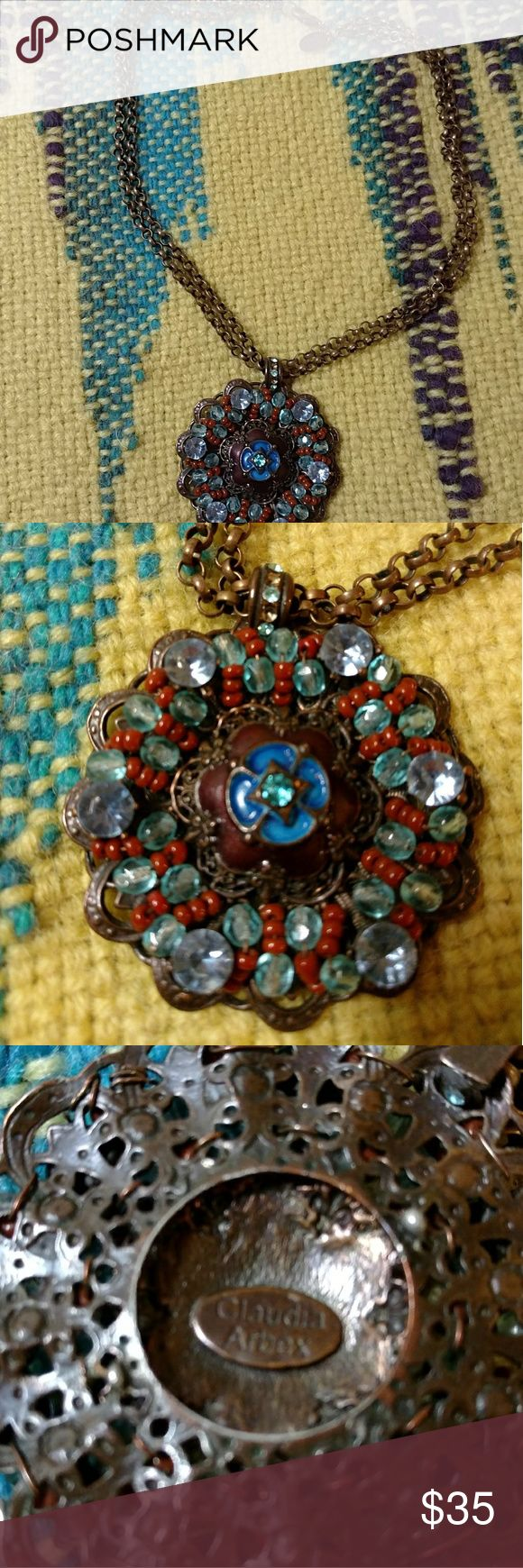 """Claudia Arbex Necklace Colorful necklace on a double 15"""" chain.  Artist markings on back of necklace and on small metal tag by clasp. Claudia Arbex Jewelry Necklaces"""