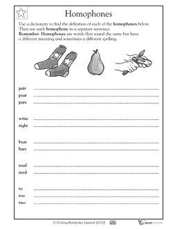 Homophones Worksheet Homophones