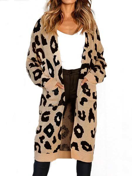 4ce561bcbb4 Online Shopping Leopard Print Intarsia Long Sleeve Casual Knitted Plus Size  Cardigan