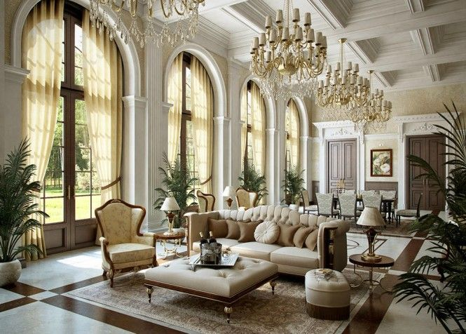 Majestic Luxurious Interior Ideas For Your Modern Home: Beautiful Living  Room Design With Luxury Classic Interior, Luxurious Chandelier, Brown Sofas  And ...