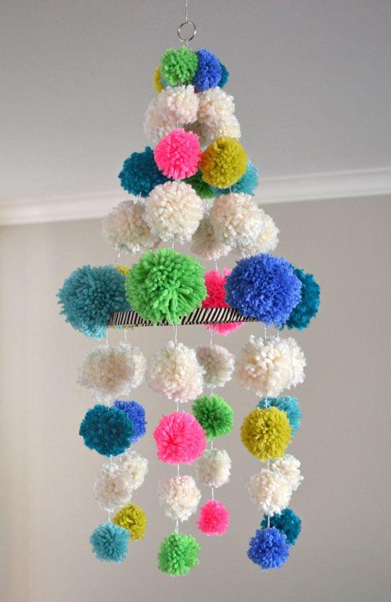 diy make your own handmade pom pom chandelier - neon, boho, stripe, mod, retro craft!
