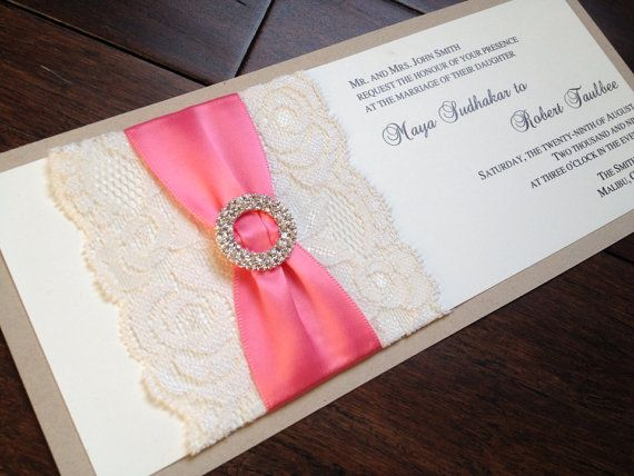Lace and Burlap Wedding Invitation Rustic by decadentdesigns, $6.25