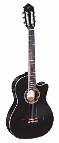Ortega RCE145BK Konzertgitarre in 4/4 Gr��e Cutaway elektrifiziert schlanker 48mm Hals schwarz im hochglanz Finish mit hochwertigem Gigbag und Gurt