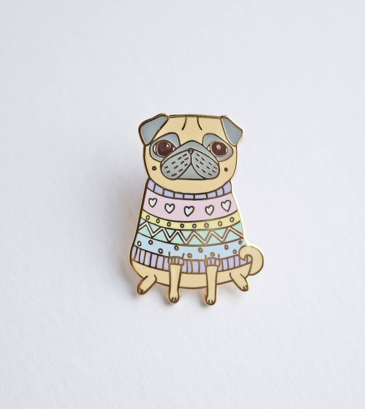 Snug As A Pug Enamel Pin by TheBlackPugPress on Etsy