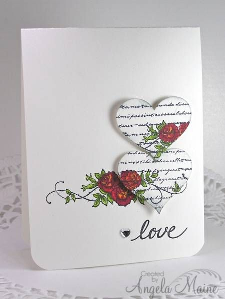 FS312 Hearts. Like the use of the script stamp along with the overlay of the floral stamp.