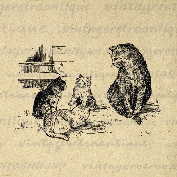 Kittens Printable Graphic Image Cat Digital Download Antique