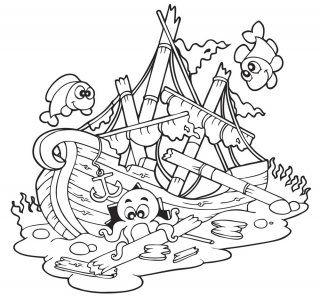 Coloriage mer : l'épave inexplorée