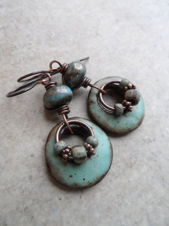 Rustic Rings A Go Go ... Artisan Ceramic, Lampwork and Copper Wire-Wrapped Rustic, Boho, Hoop, Earthy, Primitive Earrings