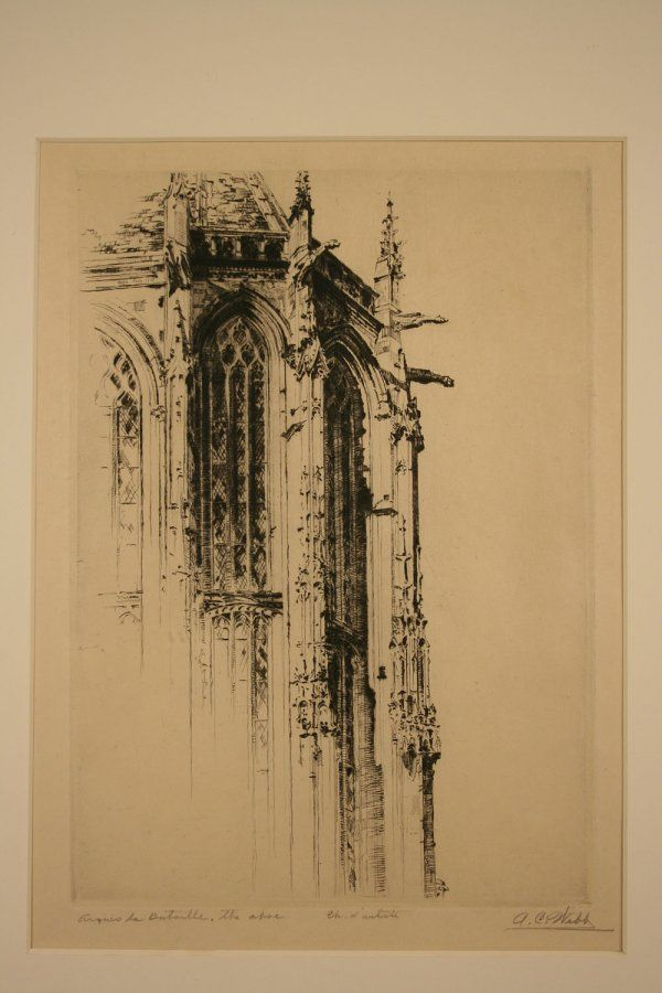"""Arques la Bataille, the Apse"", Architectural etching pencil signed A. C. Webb"