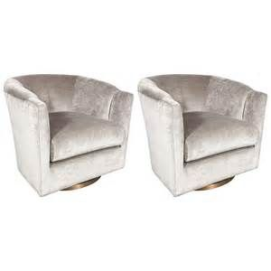 Pair Of Mid Century Modernist Milo Baughman Swivel Chairs With .