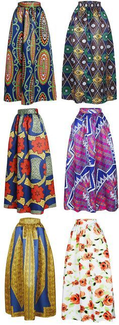 Printed High Waisted Maxi Skirt, African Fashion