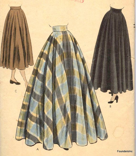 Vtg 1947  Vogue 6231  LONG FULL SKIRT (pair with plain Oxford shirt/t-shirt)
