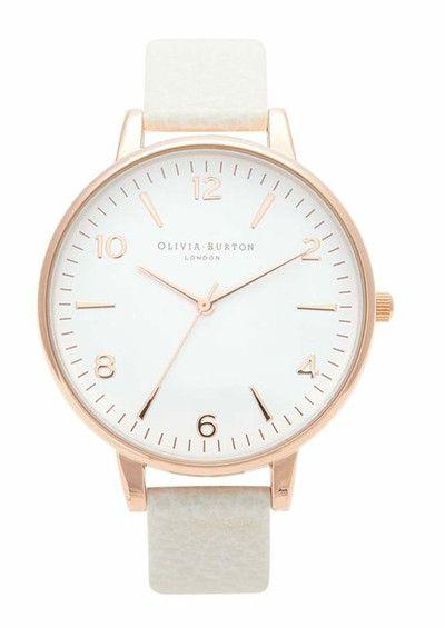 Olivia Burton Large White Face Watch - Rose Gold & Mink main image
