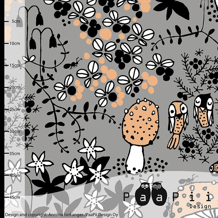 PaaPii Moss Path Scandinavian Organic Jersey 95% Cotton Fabric in Grey