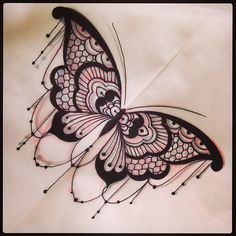 Love the lace on this butterfly tattoo
