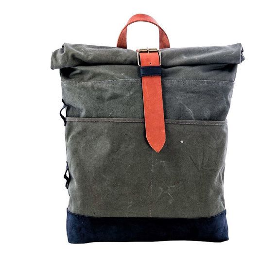 On Sale 20% Canvas and leather backpack Roll top backpack by Kruk Garage Made of British army duffle bag Men's backpack