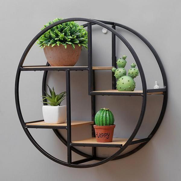 New wooden Round Wall Shelf  Display Decoration Modern Shelves