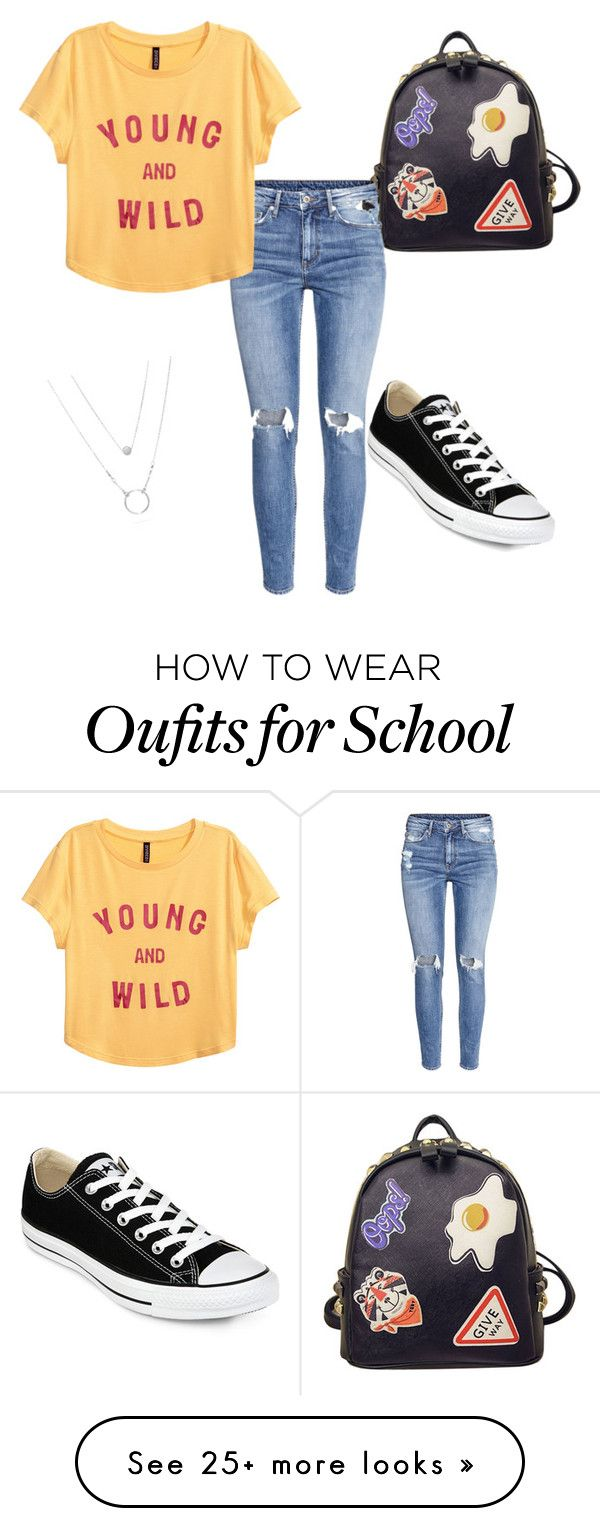 """School day"" by matilde-1602 on Polyvore featuring Converse, WithChic and H&M"