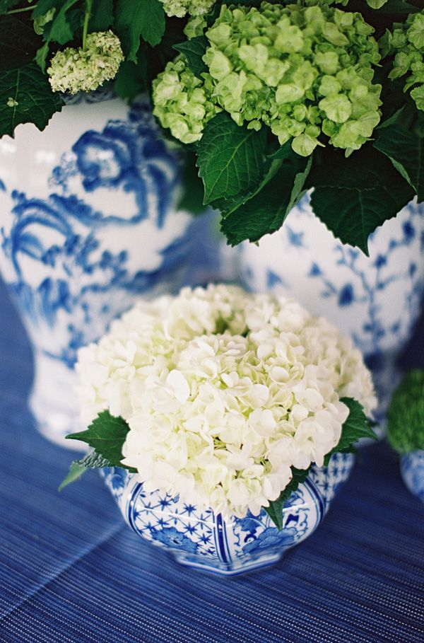 Hydrangea Table Decorations! Perfect for a White Home Wedding!