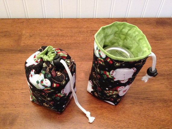 Mason Jar Carrier Bag - Half Pint Single Jars to Go holiday print bag carrier pouch cozy doozie gift bag