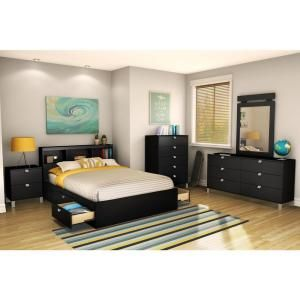 South Shore Spectra Pure Black Full Headboard 3270093 at The Home Depot - Mobile