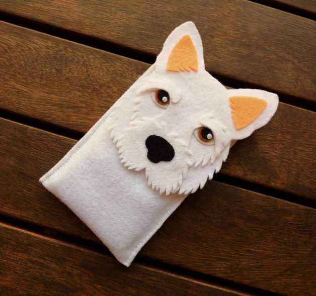 Mobile Phone Case with shape of a white West Highland Terrier dog breed made and designed entirely by hand. It is a unique design that impresses everyone who sees it. Items are made to order,...