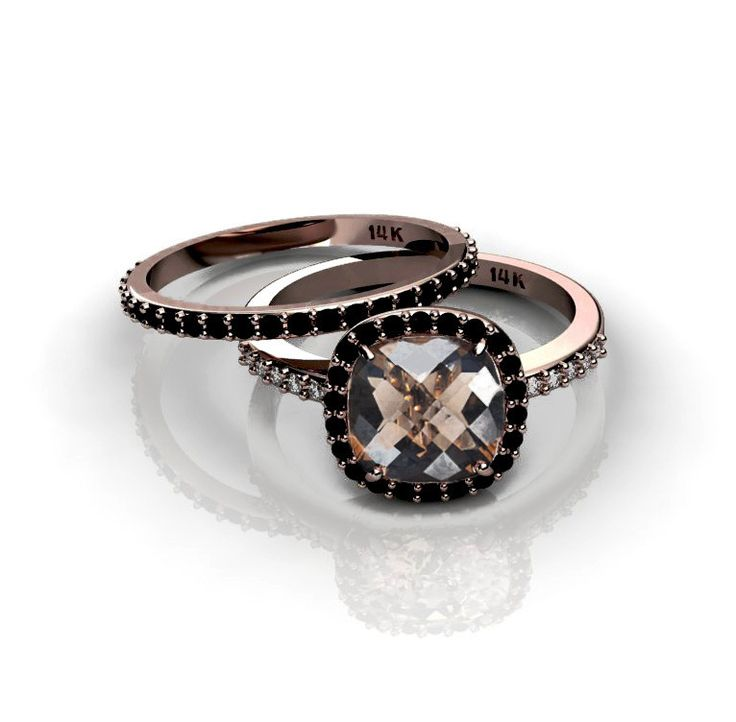 Black Diamonds Halo Engagement Ring 14K Rose Gold Smoky Quartz Ring