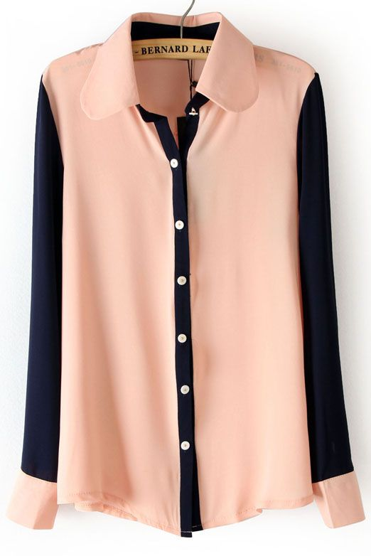 black and pink contrasting chiffon blouse
