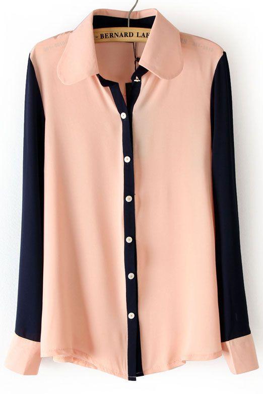 Pink Lapel Contrast Long Sleeve Chiffon Blouse - Sheinside.com