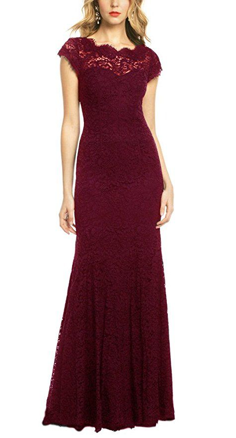 REPHYLLIS Women's Retro Floral Lace Vintage Wedding Maxi Bridesmaid Long Dress(XS,DarkRed) - Affiliate Link, red dress, burgundy dress, marsala dress, bridesmaids dress, berry wedding theme, maid of honor dress