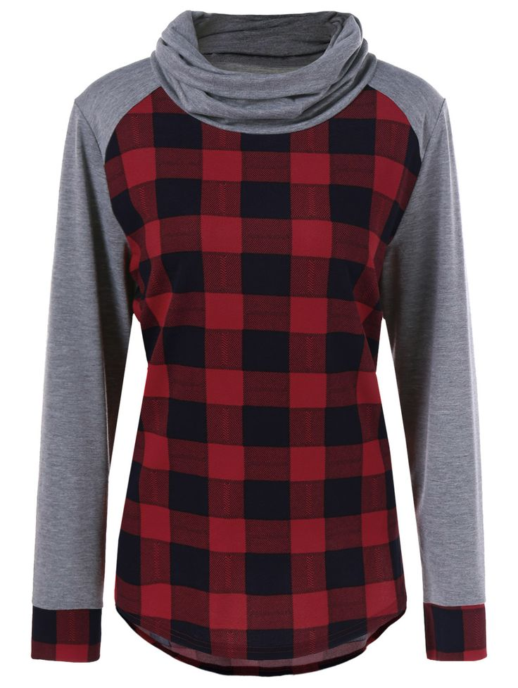 Plus Size Plaid Trim Curved T-Shirt