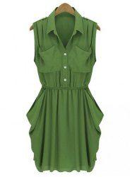 Casual Shirt Collar Sleeveless Solid Color Pocket Design Chiffon Women's Dress