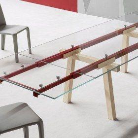 Tracks Tavolo allungabile con struttura in acciaio e piano in cristallo | Bonaldo