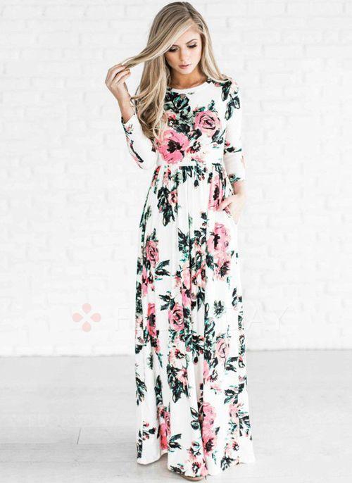 Vestidos - $40.99 - Vestidos Mezclas de algodón Floral Hasta los tobillos Manga larga (1955139932)