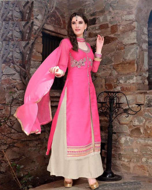 Lovely Pink BhagalPuri Silk Top With Stone Work, off white Free Size Stitched Lehenga with Pure Chiffon Dupatta Decorated With Lace All Around. #salwarsuits #partywearsuits #designersuits #ladiessuits #silksuits #lehenga #designerlehenga