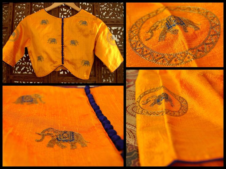 THE INDIAN ELEPHANT Mustard yellow raw silk blouse with antique gold zari hand-embroided work of elephants on the back and sleeve of the blouse. This can be customised with any other colour combinations too.If you are keen on getting a sari customised for this blouse kindly send me a private message or email.Price upon request (ONLY via emails/FB inbox messages). Available in sizes - 32 34 36 28 40 42 and 44. To order this blouse and for other purchase related queries kindly mail me a...