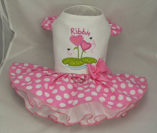 Small dog harness dress. Tutu skirt. Ribbit