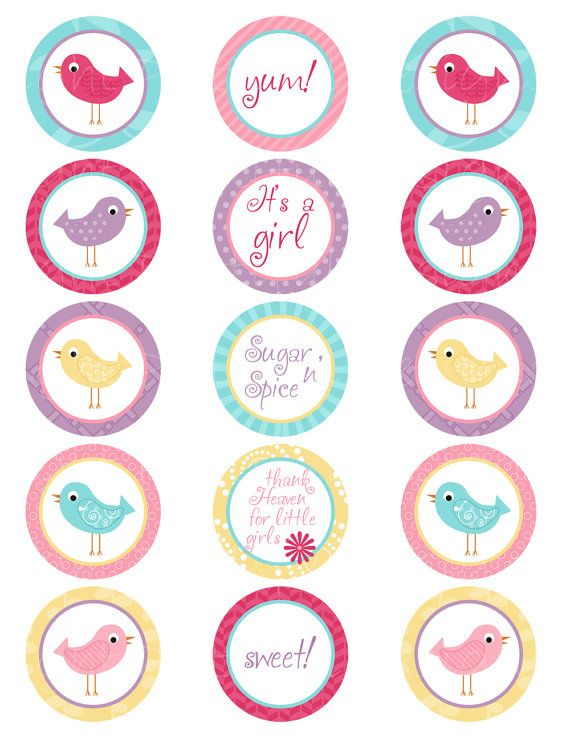 Printable Its A Girl Bird Spring Color Cupcake by PDPrintables, $2.70