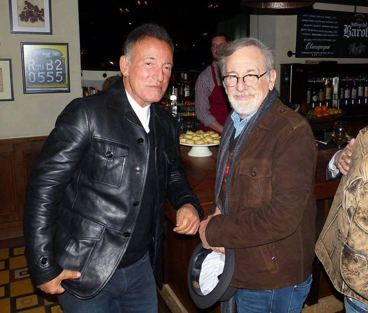 """Bruce Springsteen and Steven Spielberg  November 15, 2016. Simon & Schuster, publishers of Bruce Springsteen's autobiography, """"Born to Run"""" hosted a celebration at Maialino in Gramercy Park North, New York City. (Pictures by Frank Stefanko)"""