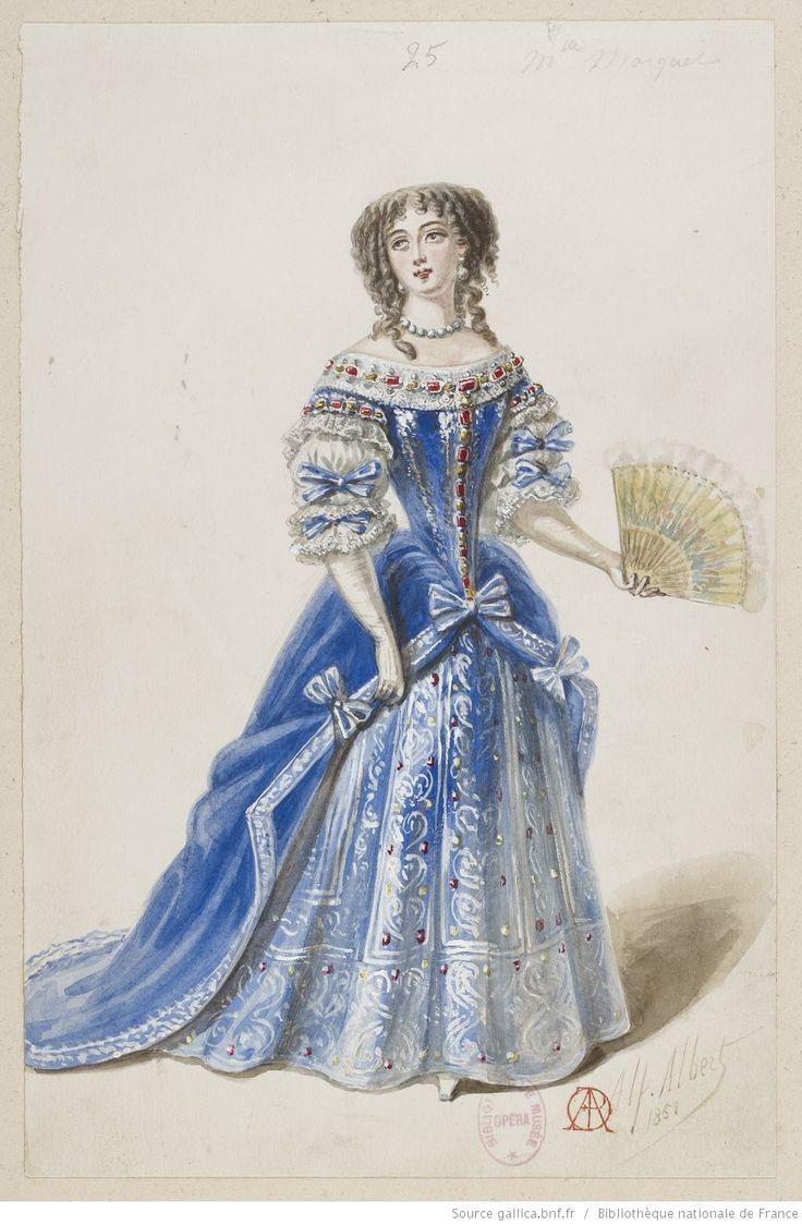 """Dessin de costume """"l'Etoile de Messine"""" ballet pantomime livret Paul Foucher.  Comtesse Aldini Melle Marquet, par Alfred Albert"""