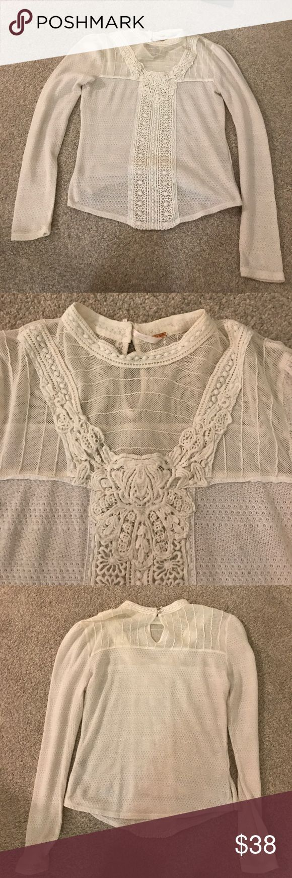 Free people lace cream long sleeve top size S Excellent condition free people lace detailed long sleeve top in light cream color. No wear or tear. Size small. Free People Tops Blouses
