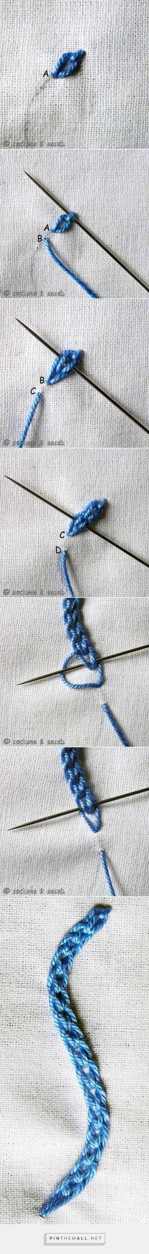braided chain stitch » Sarah's Hand Embroidery Tutorials - created via https://pinthemall.net