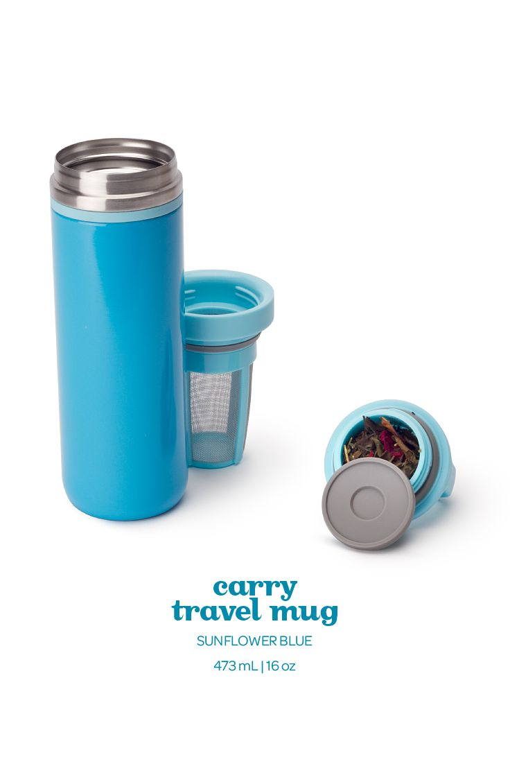 This light blue travel mug is 100% leakproof and keeps your tea hot for hours.