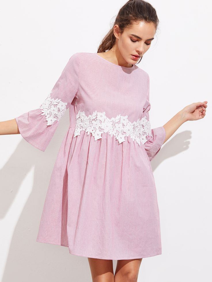 Shop Floral Lace Applique Fluted Sleeve Striped Smock Dress online. SheIn offers Floral Lace Applique Fluted Sleeve Striped Smock Dress & more to fit your fashionable needs.