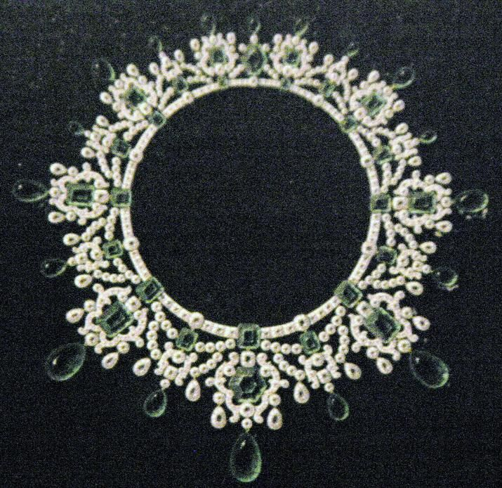 Faberge design for an emerald and diamond necklace.