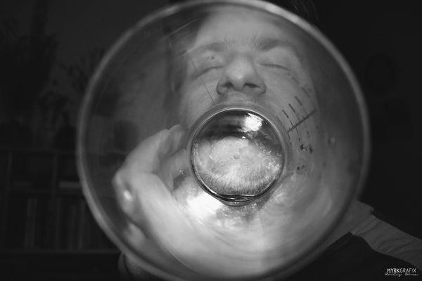 through a cup