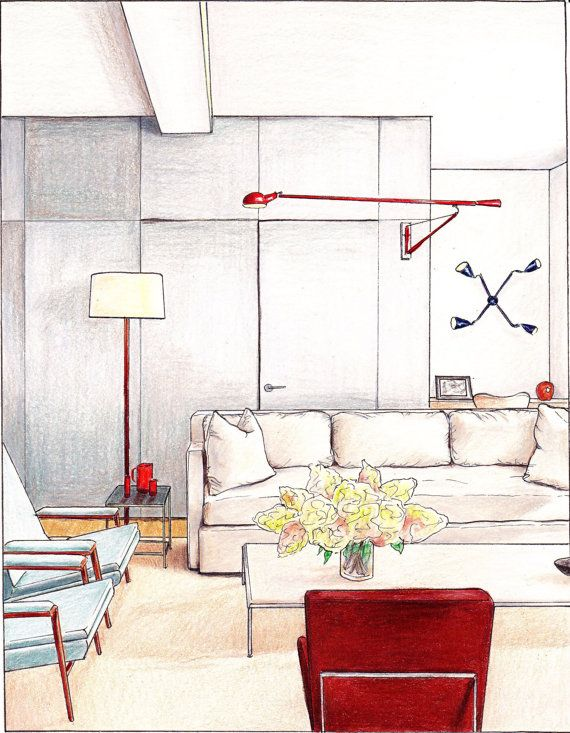 "Interior Design Sketches Living Room original art print ""gray living room"". interior design, hand drawn"