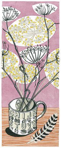 Angie Lewin - Alphabet Mug linocut print