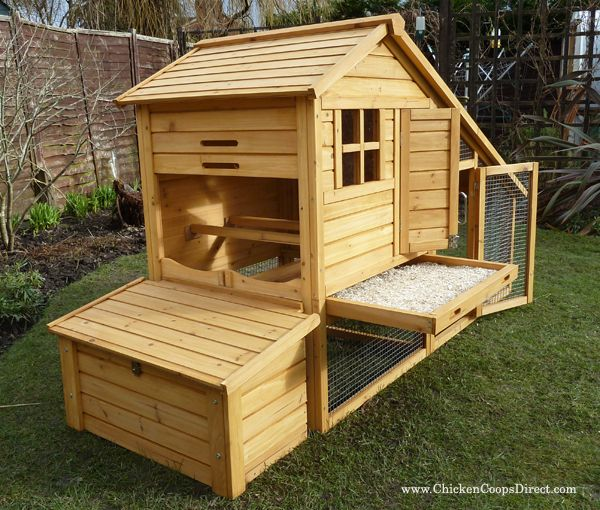 An easy to clean chicken coop with removable nesting box and a handy pull out tray