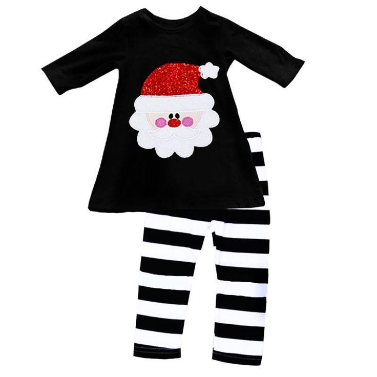 Santa Outfit Red Sparkle Black Stripe Top And Pants